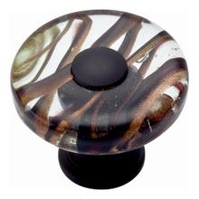 Milky Way Glass Round Knob 1 1/2 Inch - Aged Bronze