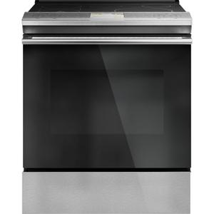 "GE30"" Smart Slide-In, Front-Control, Induction and Convection Range with In-Oven Camera in Platinum Glass"