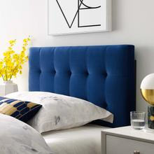 View Product - Lily Biscuit Tufted Twin Performance Velvet Headboard in Navy
