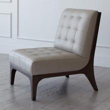 Tufted Slipper Chair-Grey Leather