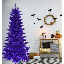 Fraser Hill Farm 7-Ft. Spooky Purple Tinsel Tree, No Lights, HH070TINTREE-0PUR