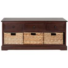 Damien 3 Drawer Storage Bench - Dark Cherry