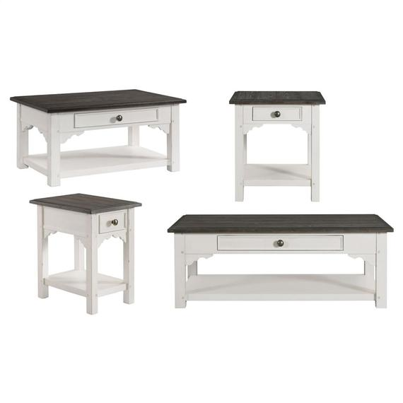 Riverside - Grand Haven - Small Coffee Table - Feathered White/rich Charcoal Finish