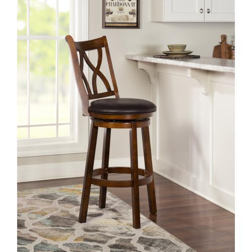 Curved Double-x Wood Back and Pu Cushion Seat Swivel Barstool, Rustic Oak