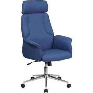 Gallery - High Back Desk Chair  Blue Upholstered Swivel Chair for Desk and Office
