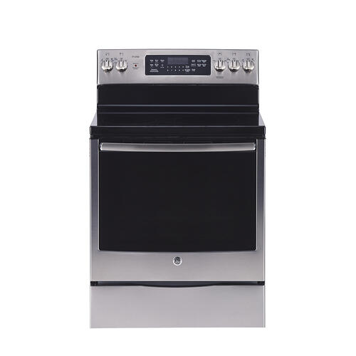 """GE Profile 30"""" Electric Free Standing True Convection Range with Storage Drawer Stainless Steel - PCB905SPSS"""