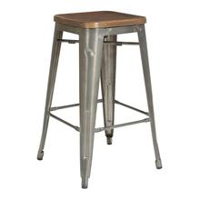 "Indio 26"" Stool With Industrial Steel Finish and Vintage Ash Walnut Seat 4/ctn"