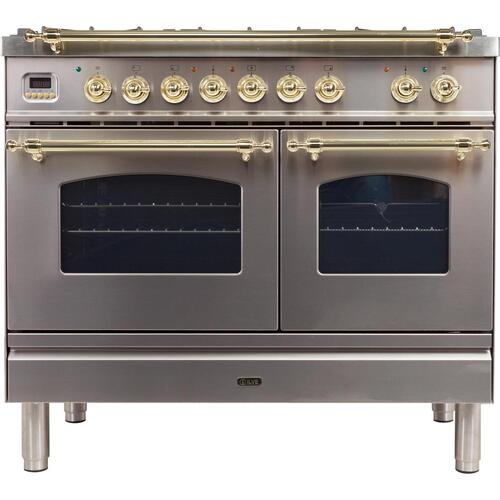 Nostalgie 40 Inch Dual Fuel Liquid Propane Freestanding Range in Stainless Steel with Brass Trim