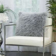 "Faux Fur Bj101 Light Grey 20"" X 20"" Throw Pillow"