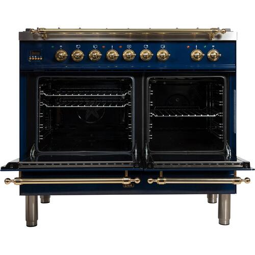 Nostalgie 40 Inch Dual Fuel Natural Gas Freestanding Range in Blue with Brass Trim