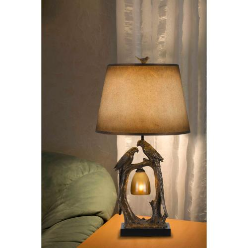 100W+7W Natured Themed Resin Table Lamp With Hand Painted Paper Shade
