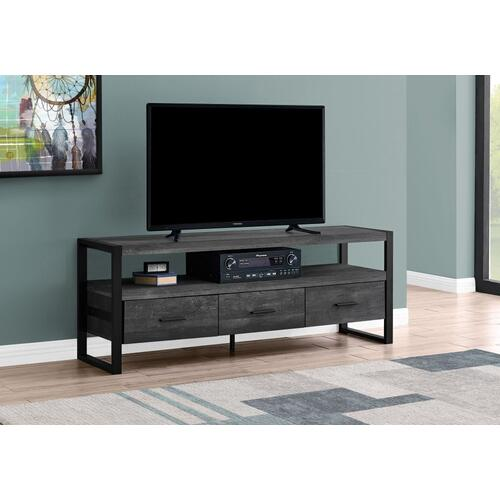 """TV STAND - 60""""L / BLACK RECLAIMED WOOD-LOOK / 3 DRAWERS"""