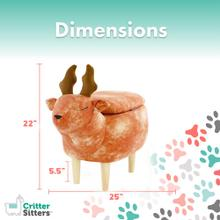 Critter Sitters 16-In. Seat Height Reindeer Animal Shape Storage Ottoman - Furniture for Nursery, Bedroom, Playroom, and Living Room Decor, CSDEERSTOTT-BRN