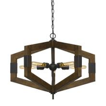 Varna 60W X 5 Pine Wood Chandelier (Edison Bulbs Not included)
