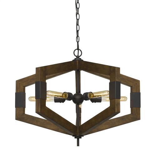 Varna 60W X 5 Pine Wood Chandelier (Edison Bulbs Not included)