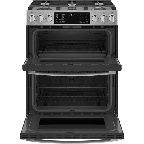 "GE Appliances - GE Profile™ 30"" Smart Slide-In Front-Control Gas Double Oven Convection Fingerprint Resistant Range"