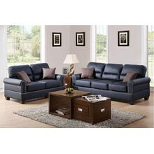Marwa 2pc Loveseat & Sofa Set, Black-bonded-leather
