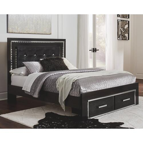 Queen Panel Bed With Storage With Mirrored Dresser and Chest