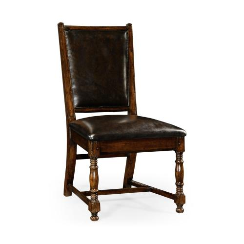 Oak country side chair in antique caviar black leather upholstery