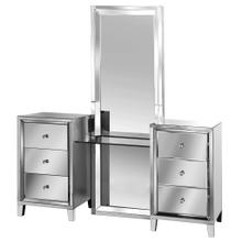 MIRRORED ELEGANCE  70in ht X 66in w X 20in d  Three Piece Mirrored Vanity with Clear Glass Counter