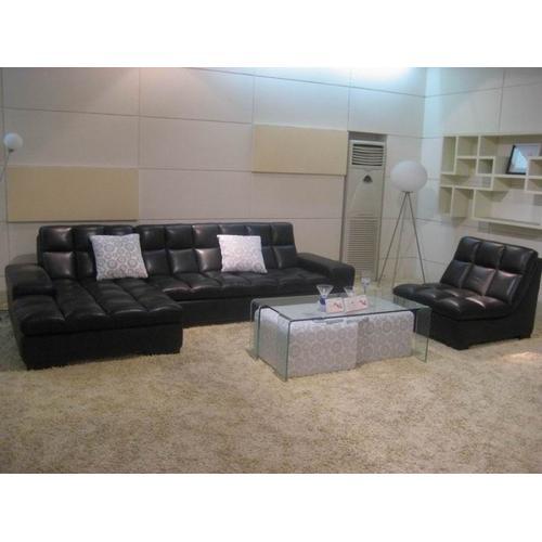 Divani Casa BO3935B Modern Black Leather Sectional Sofa w/ Chair