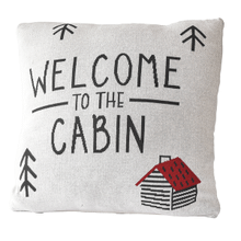 """Welcome to the Cabin"" Knit Pillow"