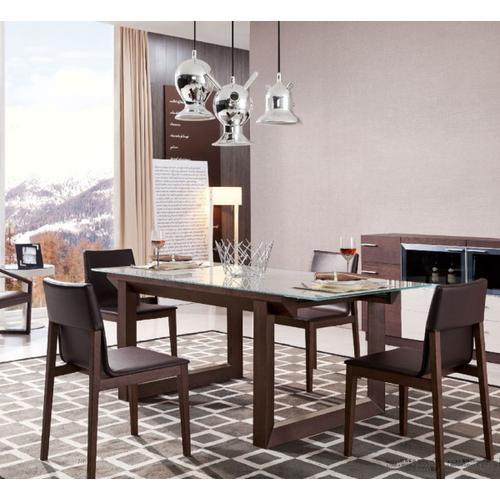 Modrest E537T Modern Brown Oak & Gray Glass Extendable Dining Table