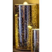 "8"" Gold Shimmer LED Bubbler Candle w/remote"