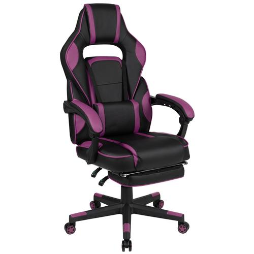 Gallery - X40 Gaming Chair Racing Ergonomic Computer Chair with Fully Reclining Back\/Arms, Slide-Out Footrest, Massaging Lumbar - Black\/Purple