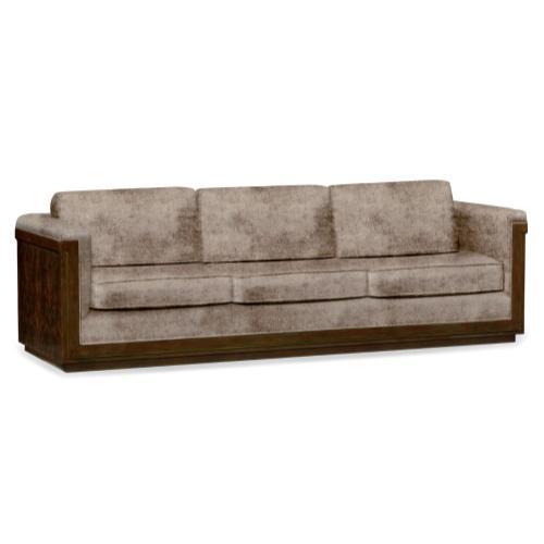 110'' Antique Mahogany Brown High Lustre Sofa, Upholstered in Truffle Velvet