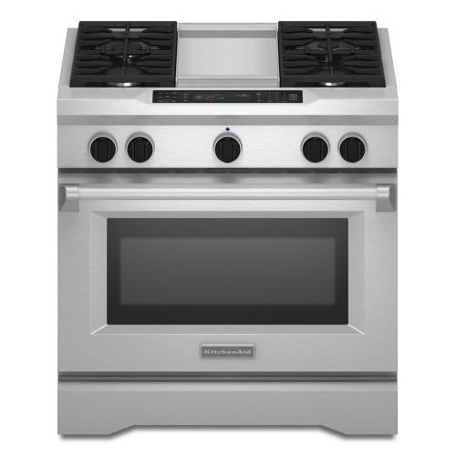 OPEN BOX 36'' 4-Burner with Griddle, Dual Fuel Freestanding Range, Commercial-Style - Stainless Steel