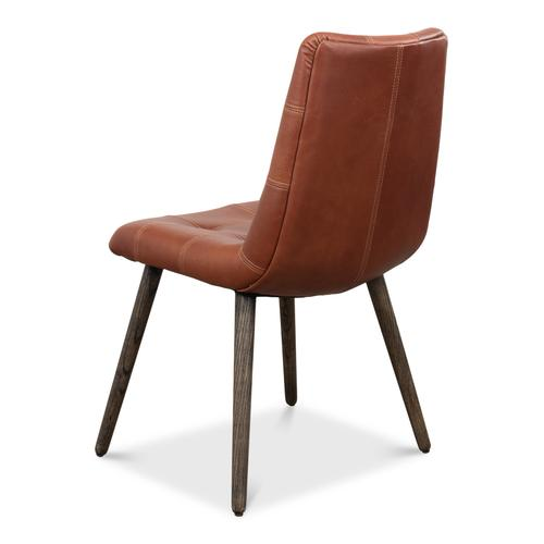 Harned Leather Side Chair, Dark