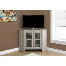 """See Details - TV STAND - 42""""L / DARK TAUPE CORNER WITH GLASS DOORS"""