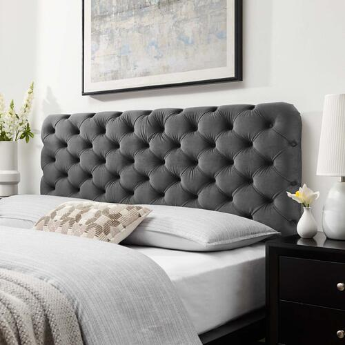 Lizzy Tufted King/California King Performance Velvet Headboard in Charcoal
