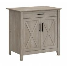 Key West Secretary Desk with Keyboard Tray and Storage Cabinet - Washed Gray