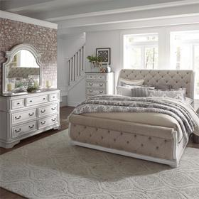 King California Upholstered Sleigh Bed, Dresser & Mirror, Chest