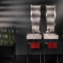 Floor-standing metal console stand with a towel bar (Bathroom Sink 5066 sold separately), made of stainless steel or brass. It must be attached to wall.