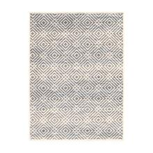 Avilla - Aged Diamonds Area Rug, Beige and Blue, 5' x 7'