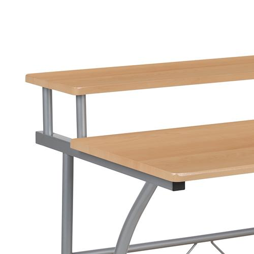 Flash Furniture - Clifton Maple Computer Desk with Top and Lower Storage Shelves
