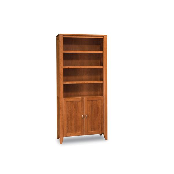 Justine Bookcase, Wood Doors on Bottom, 2-Adjustable Shelves
