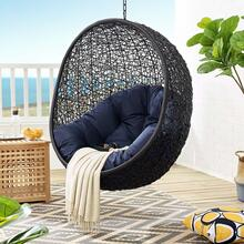 Encase Swing Outdoor Patio Lounge Chair Without Stand in Black Navy