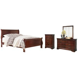 See Details - Queen Sleigh Bed With Mirrored Dresser and Chest