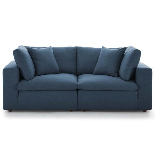 Commix Down Filled Overstuffed 2 Piece Sectional Sofa Set in Azure