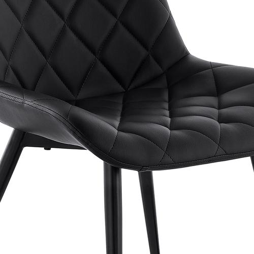 Armen Living - Loralie Black Faux Leather and Black Metal Dining Chairs - Set of 2