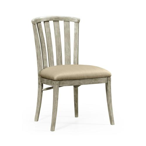Rustic grey style curved back chair