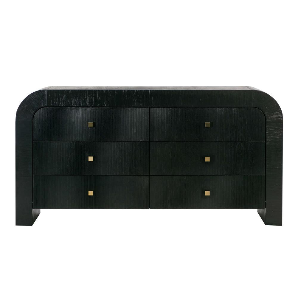 See Details - Hump 6 Drawer Black Dresser