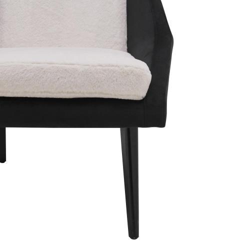 Enzo KD Faux Fur/Velvet Fabric Accent Chair, Fleece White/Velvet Black