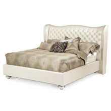 Creamy Pearl Cal King Upholstered Bed