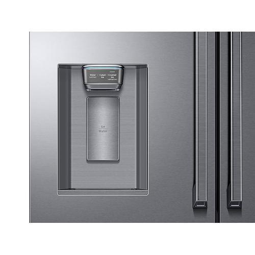 Samsung - 23 cu. ft. Counter Depth 4-Door French Door Refrigerator with Polygon Handles in Stainless Steel