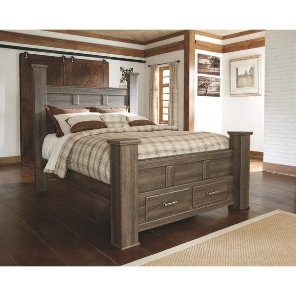 Juararo Queen Poster Bed With 2 Storage Drawers